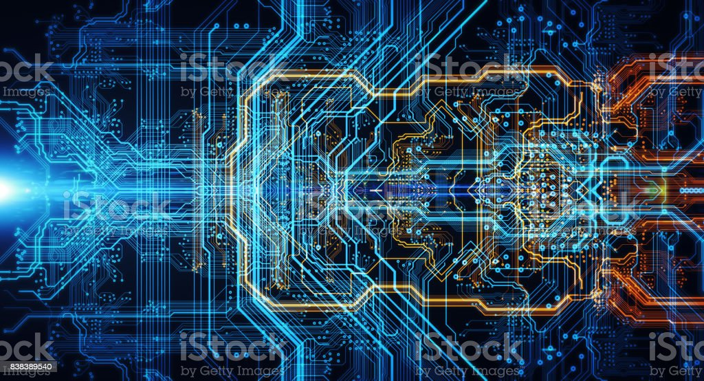 Printed circuit board in the server  executes the data. stock photo