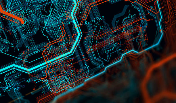 Printed circuit board in the server  executes the data. - foto stock