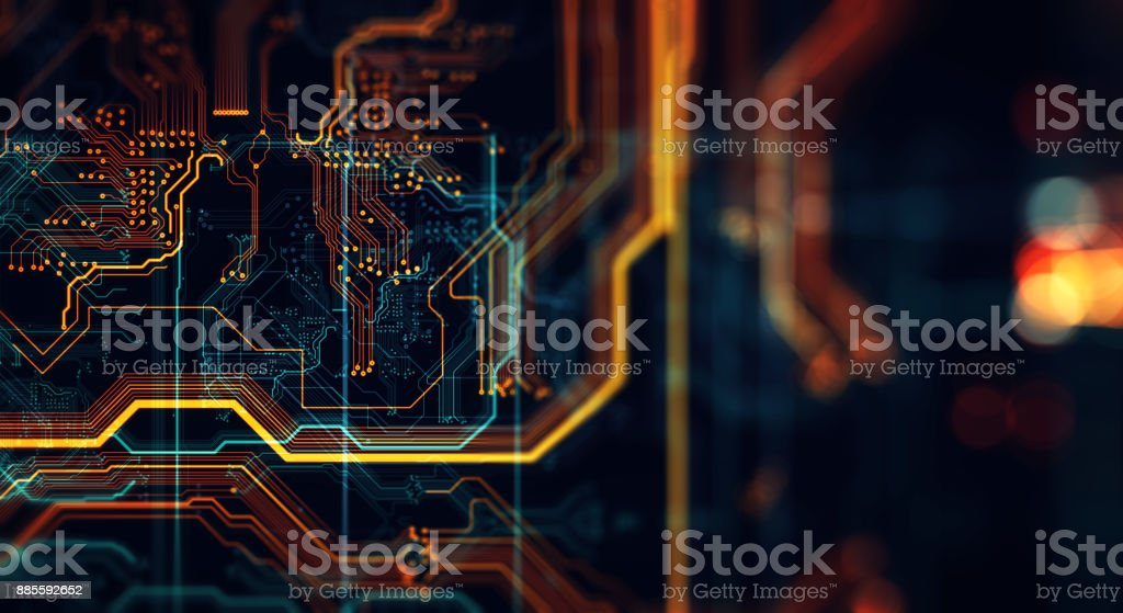Printed circuit board in the server  executes the data. - Royalty-free Abstract Stock Photo