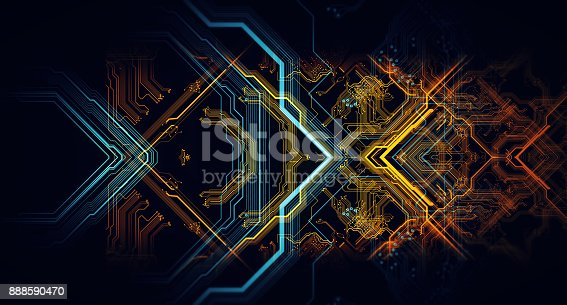 838379014istockphoto Printed circuit board in the server  executes the data. 888590470