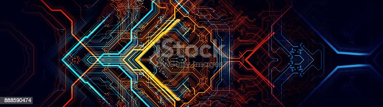 838379014istockphoto Printed circuit board in the server  executes the data. 888590474