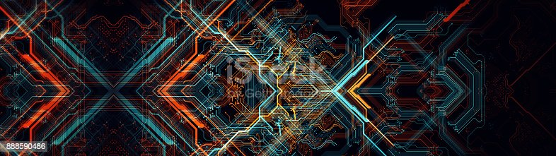 838379014istockphoto Printed circuit board in the server  executes the data. 888590486