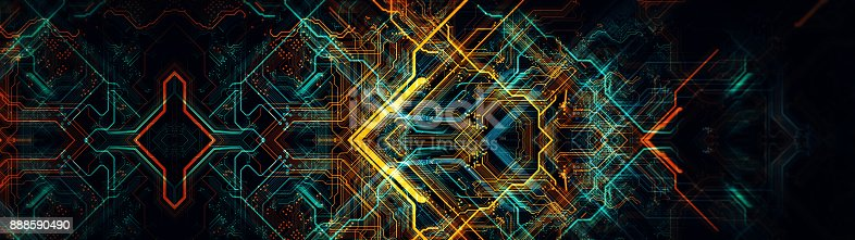 838379014istockphoto Printed circuit board in the server  executes the data. 888590490