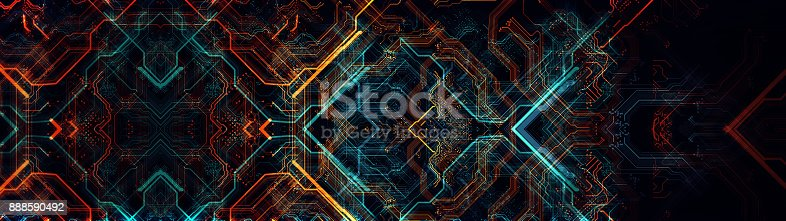 838379014istockphoto Printed circuit board in the server  executes the data. 888590492