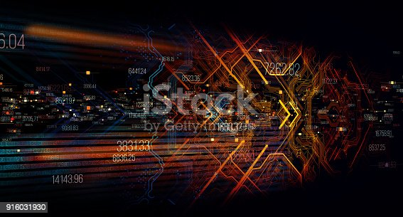 istock Printed circuit board in the server  executes the data. 916031930
