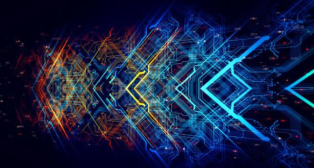 printed circuit board in the server  executes the data. - ingrandimento foto e immagini stock