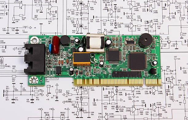 Printed circuit board liegen auf der Abbildung von Elektronik, Technologie – Foto
