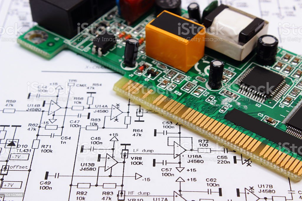 Printed Circuit Board Diagram | Printed Circuit Board Lying On Diagram Of Electronics Technology