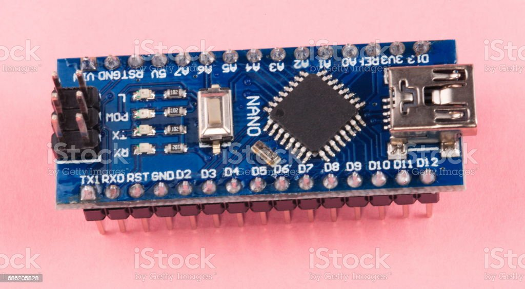 Printed Circuit Board with components - foto de stock