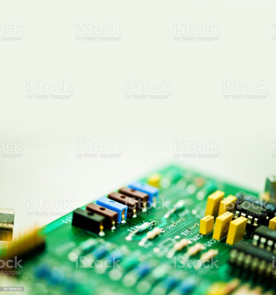 Printed Circuit Board (PCB) With ICs and Electronic Components royalty-free stock photo