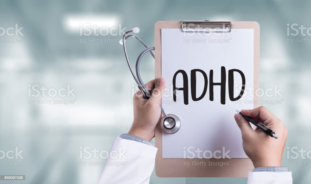 ADHD CONCEPT Printed Diagnosis Attention deficit hyperactivity disorder stock photo