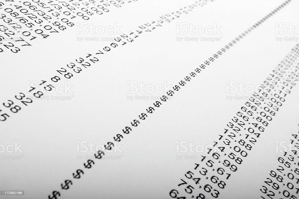 Printed financial data royalty-free stock photo