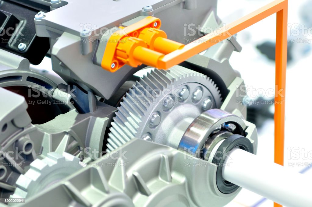 3D printed gear in a car electric drive module. stock photo