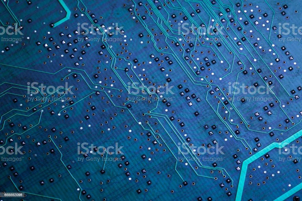 Printed green computer circuit board stock photo