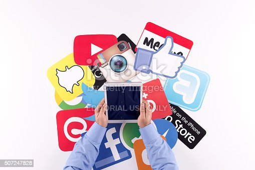 istock Printed Paper Social Media Logos on Desk with User 507247828