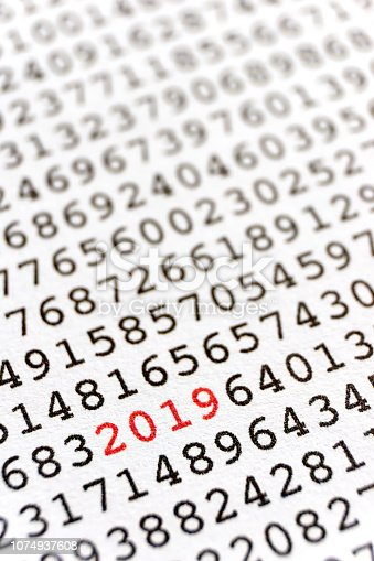 istock Printed random numbers and the number 2019 in red 1074937608