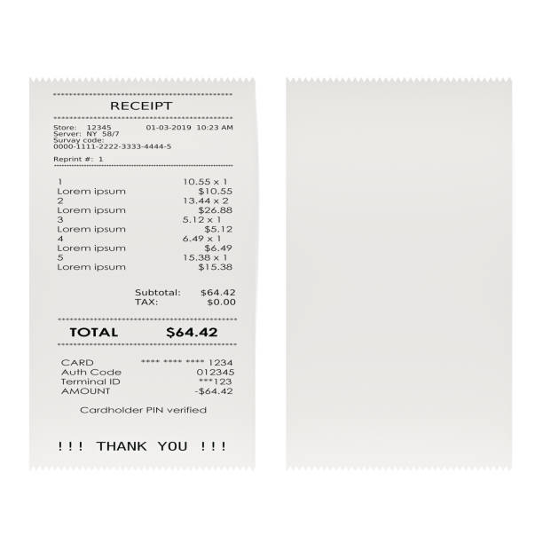 printed receipts, bills. 3d rendering isolated on white background - receipt stock photos and pictures