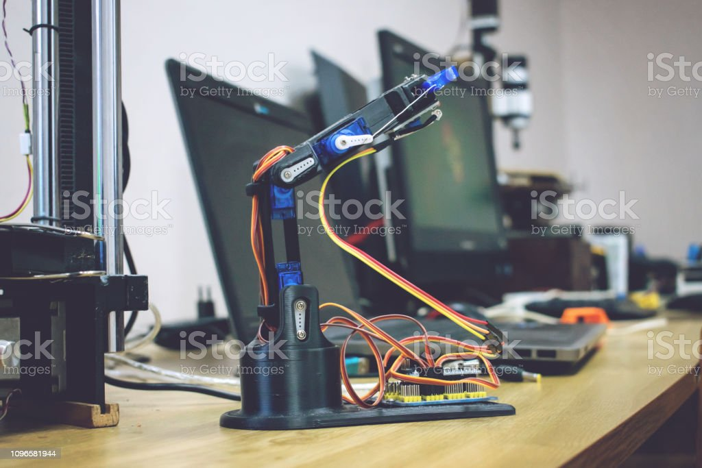 3d Printed Robot Arm With Wires And Control Board Plastic Manipulator  Robotic Hand Machine Tool Printed On Three Dimensional Printer Diy Robotics