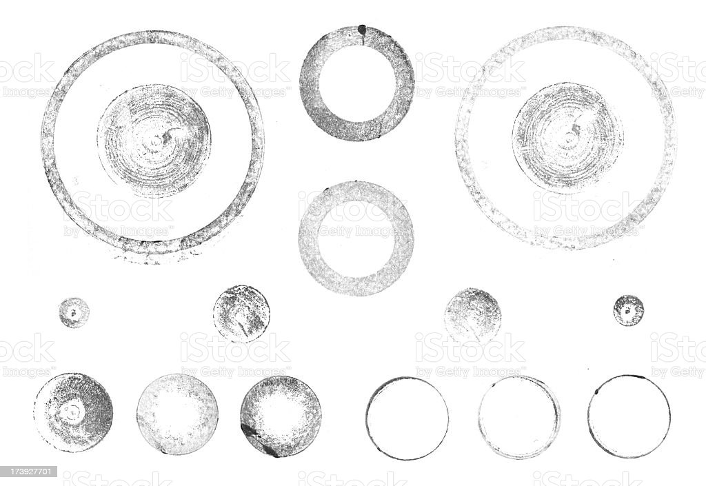 Printed round letterpress shapes royalty-free stock photo