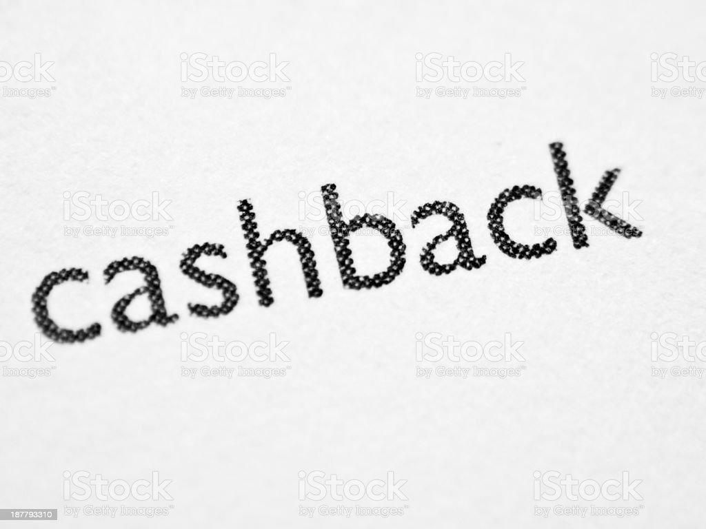 Printed word CASHBACK stock photo