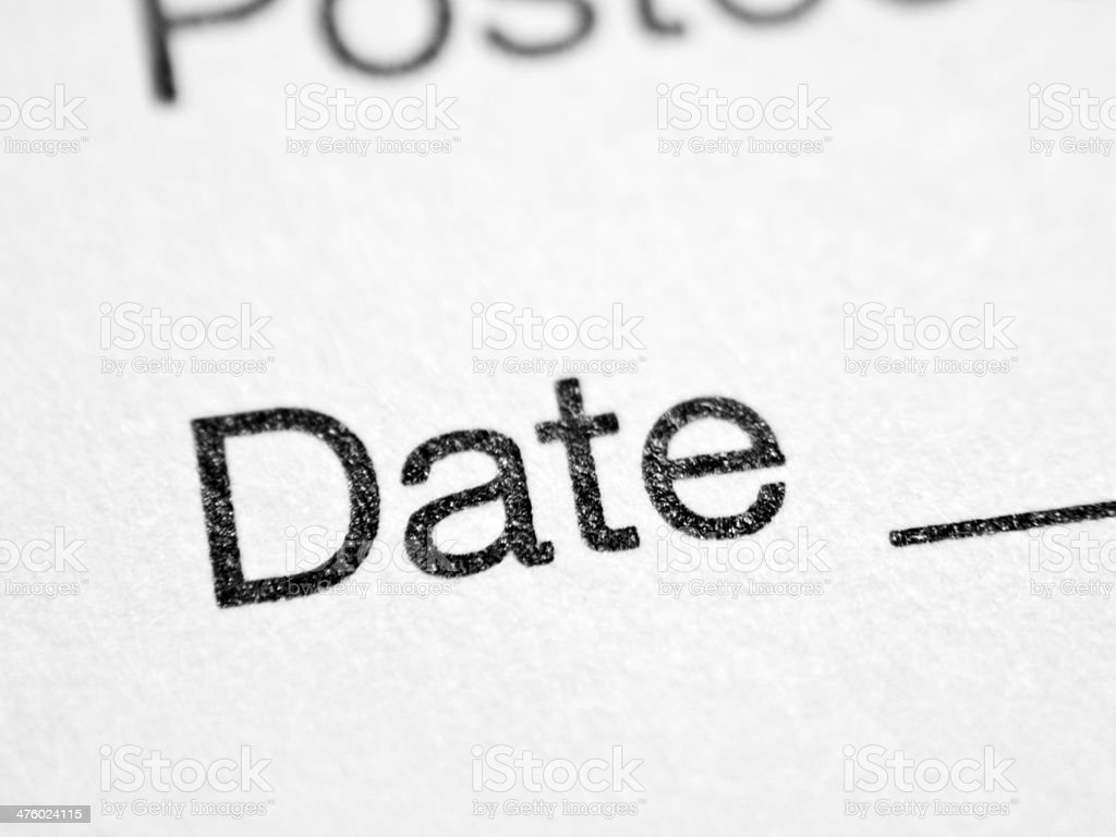 Printed word DATE stock photo