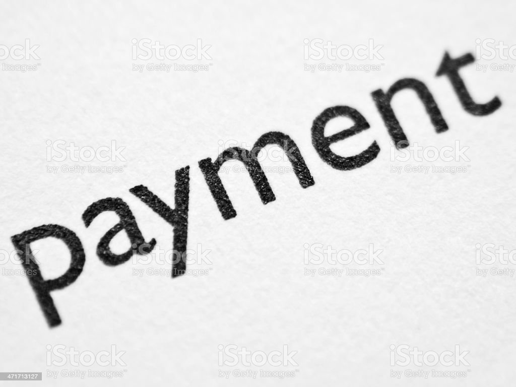 Printed word PAYMENT stock photo