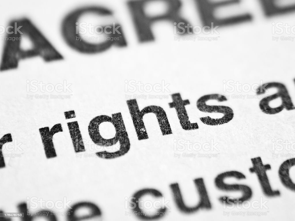 Printed word RIGHTS royalty-free stock photo
