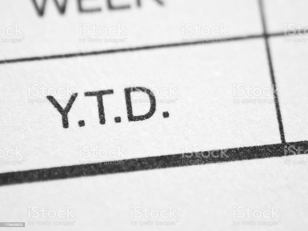 Printed word Y.T.D. royalty-free stock photo