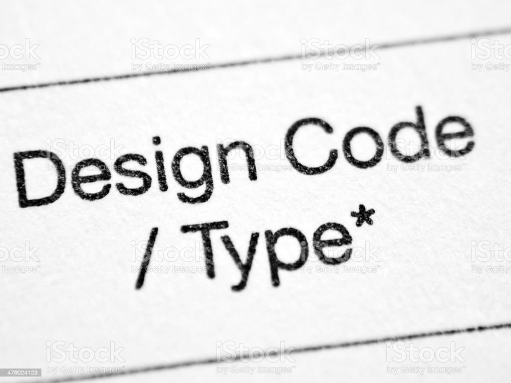 Printed words DESIGN CODE / TYPE stock photo