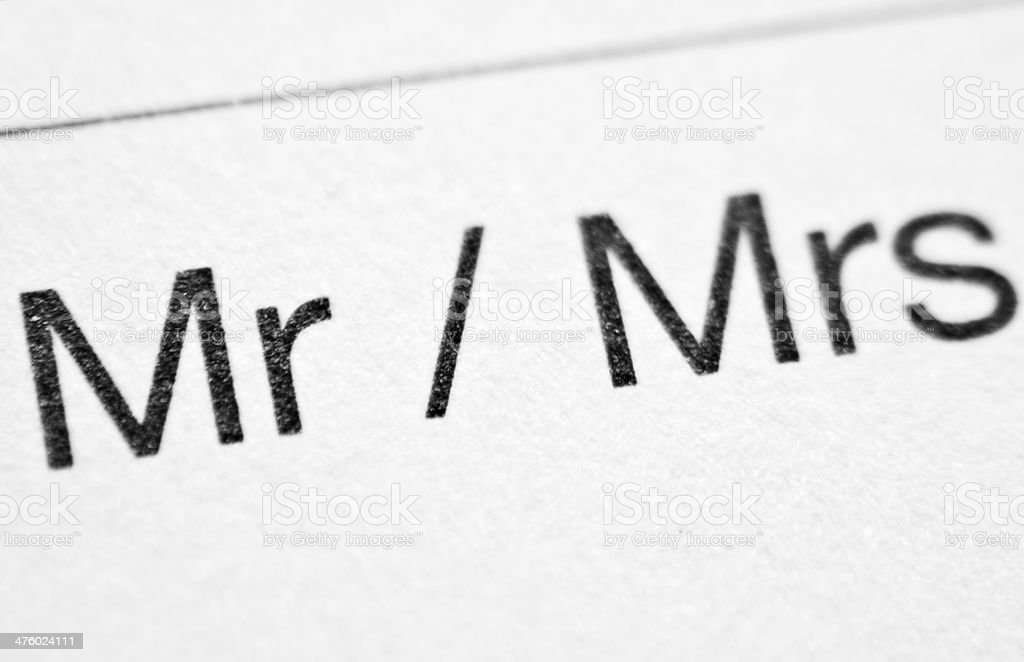 Printed words MR/MRS stock photo