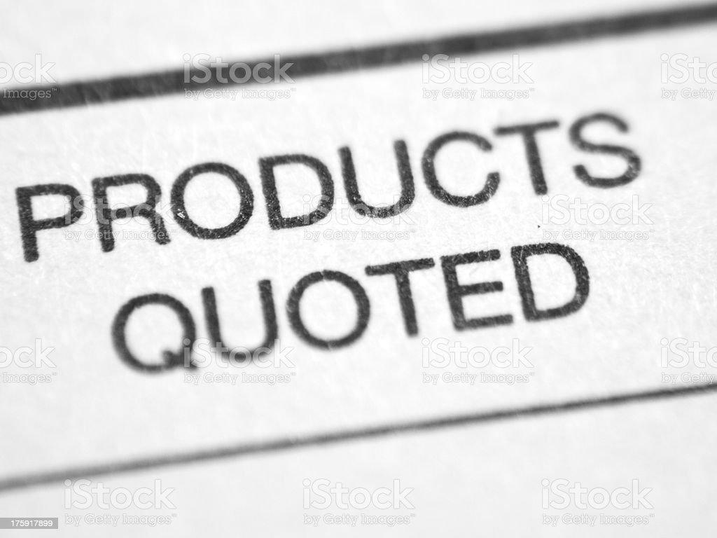 Printed words PRODUCTS QUOTED. royalty-free stock photo