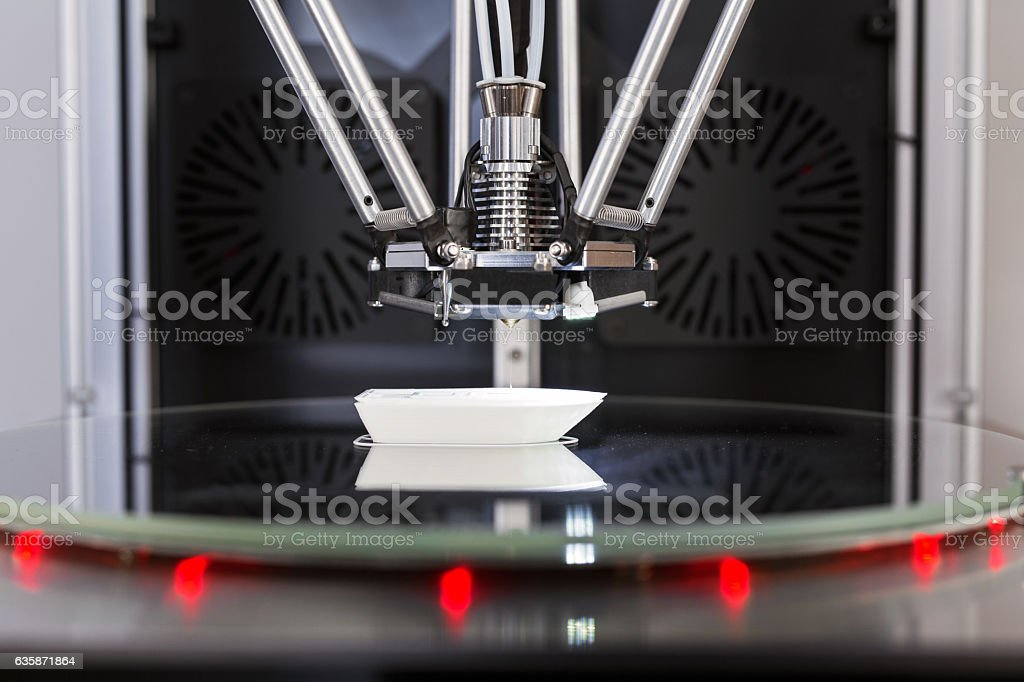 printer 3D in process printing an object stock photo