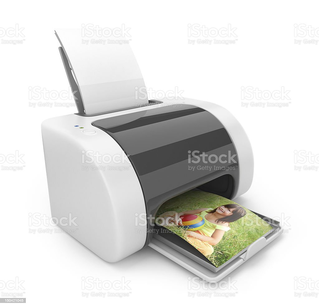 Printer 3D. Print  of photos. Icon isolated on white stock photo