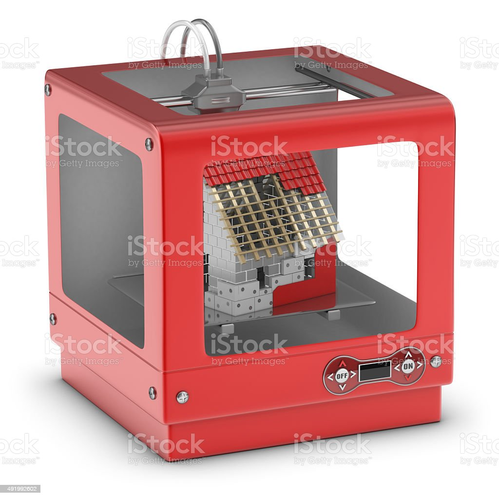 3D Printer and House under Construction stock photo