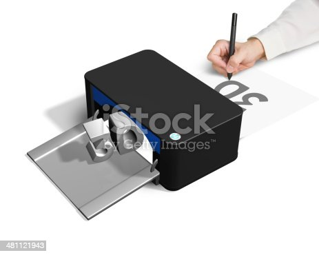 istock 3D printer concept for hand 2D drawing 481121943