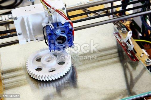 3D printer creating a white plastic gear