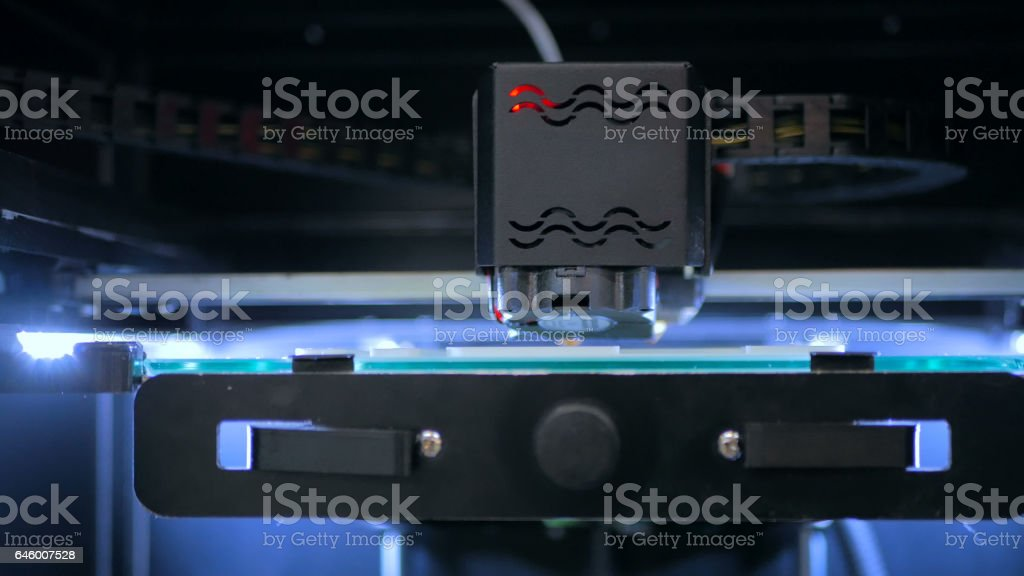 3D printer during work stock photo