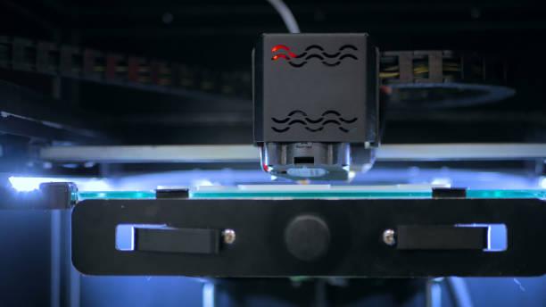 3D printer during work stock photo