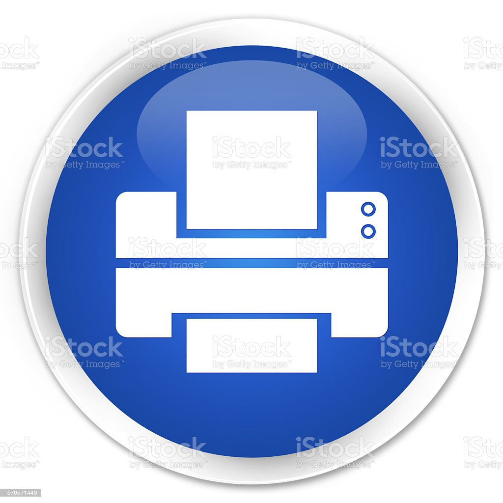 Printer icon blue glossy round button stock photo