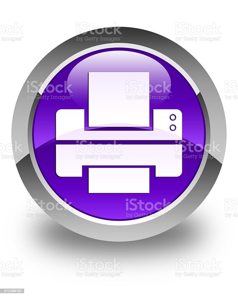 Printer icon glossy purple round button stock photo