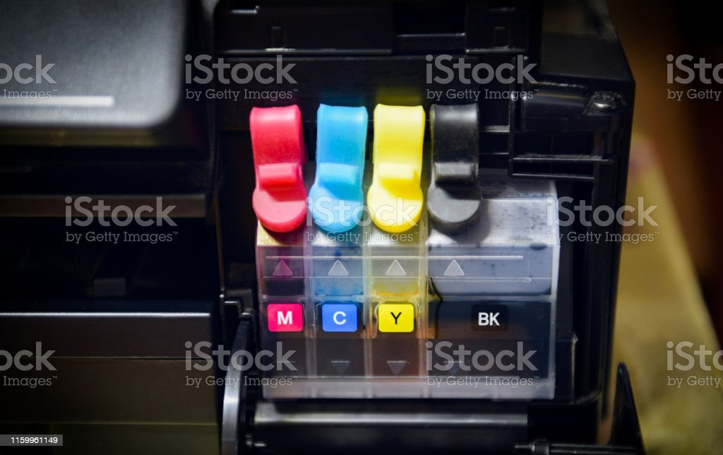 printer ink tank for refill at office / Close up printer cartridge...