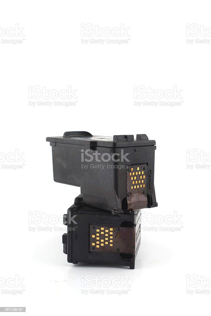 Printer Inkjet cartridges isolated on a white background stock photo