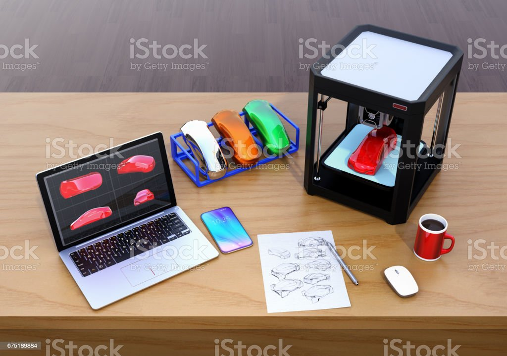 3D printer, laptop and product color samples stock photo