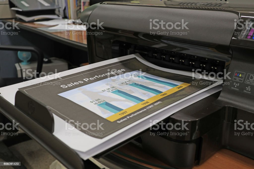 Printer output in office stock photo