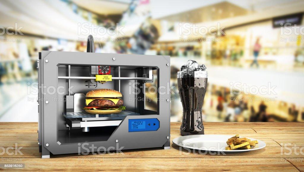 3D-printer afdrukken Hamburger op een witte achtergrond 3D-rendering op wit foto
