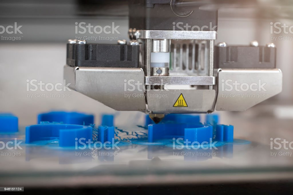 3D Printer Printing Biomedical Prototypes stock photo