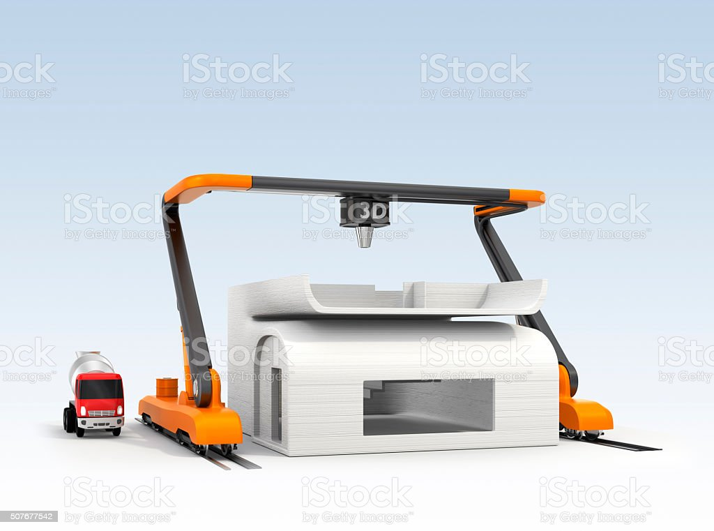 3D printer printing house. Clipping path available. stock photo