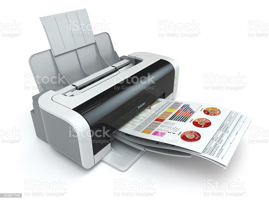 Printer prints business report on white isolated background. stock photo