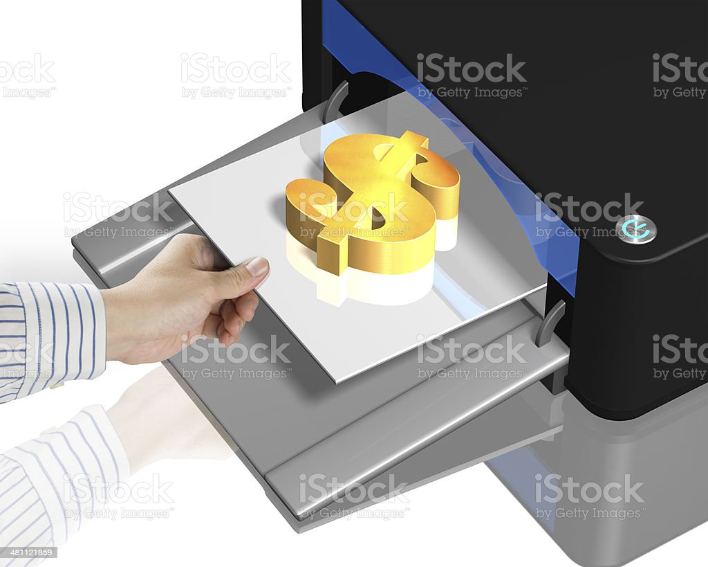 3D printer with gold money symbol stock photo