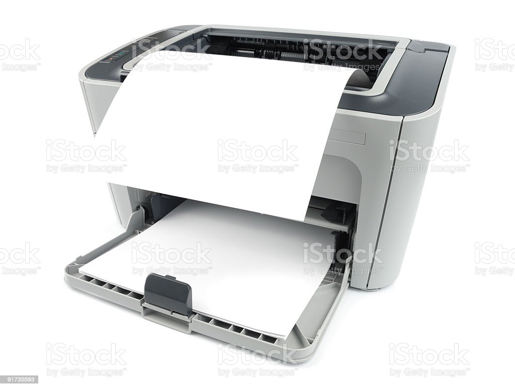 Printer With Paper stock photo